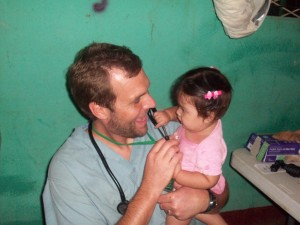 Doctor Jeff plays with his littlest patient
